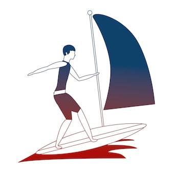Homem praticando windsurf esporte no oceano