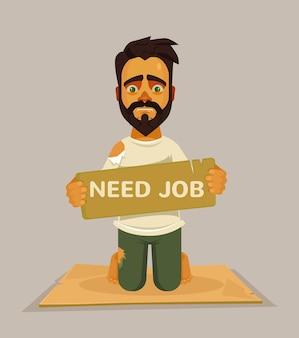 Homem precisa de emprego, ilustração plana dos desenhos animados