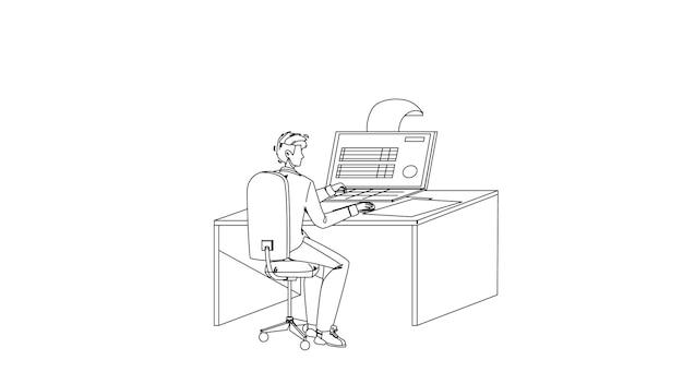 Homem preenchendo formulário de imposto on-line no vetor de desenho de lápis de linha preta de computador. empresário preencher documento financeiro eletrônico de informações fiscais on-line. ilustração do relatório de finanças econômicas do personagem working