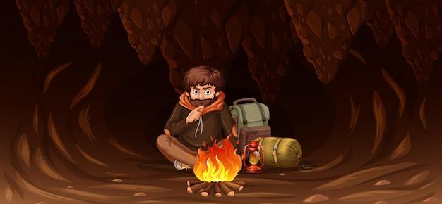 Homem, prendido, em, caverna