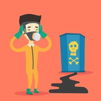 Homem preocupado em traje de proteção de radiação.