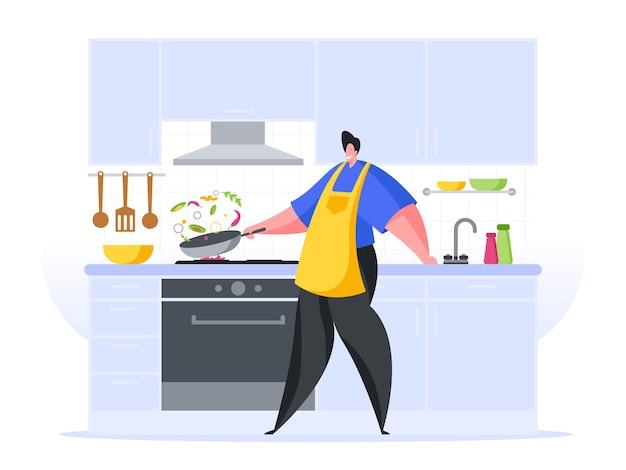Homem preparando guisado ilustração plana de cozinha em casa