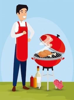 Homem preparando ilustração para churrasco