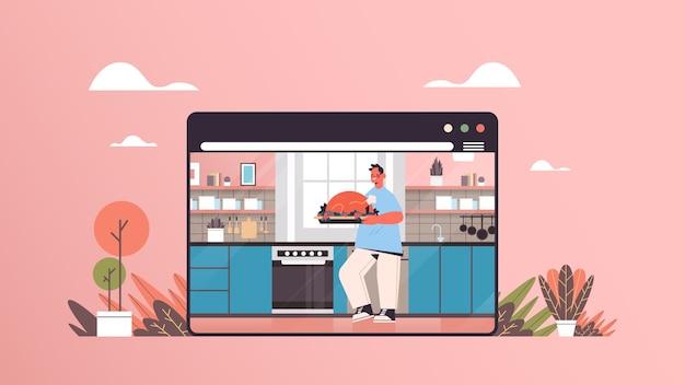Homem preparando peru em casa conceito de cozinha online moderno cozinha interior janela do navegador da web horizontal