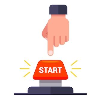 Homem pressiona o botão iniciar vermelho. ilustração plana.