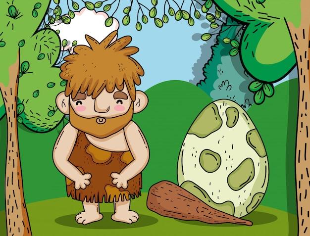 Homem primitivo caçando ovos de dinossauro