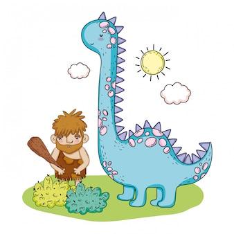 Homem primitivo com animal pré-histórico de brontossauro