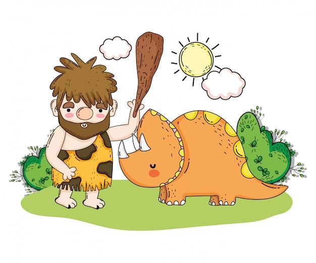 Homem primitivo com triceratops animal pré-histórico