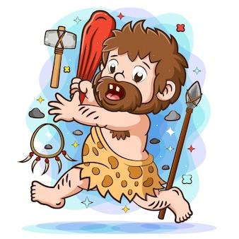 Homem primordial correndo e segurando a grande madeira para pegar algo