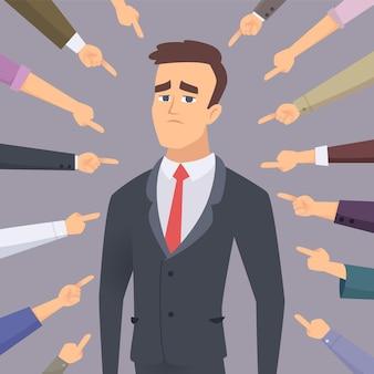 Homem problemático apontando para um empresário envergonhado, culpado, conflito, pessoas tolas, temem o conceito de funcionário