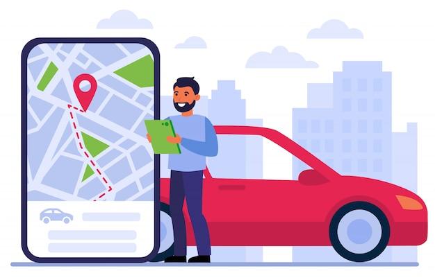 Homem procurando carro para alugar