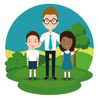 Homem professor com alunos no parque