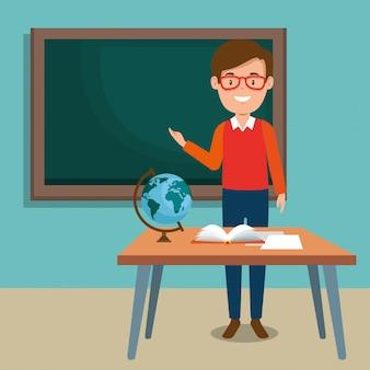 Homem professor na sala de aula
