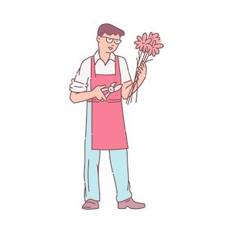 Homem profissional florista ou personagem de desenho animado vendedor de flores