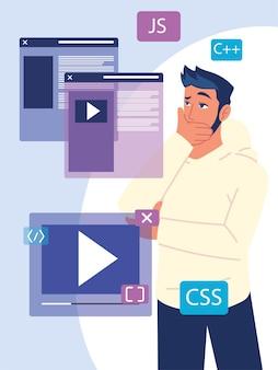 Homem programador estudando linguagens de programação