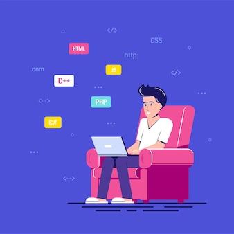 Homem programador inteligente trabalhando com laptop