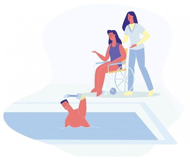 Homem, protético, mão, swimm, mulher, em, cadeira rodas