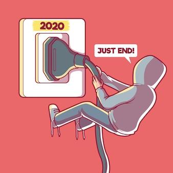 Homem puxando o plug ilustração pandemia do ano cansado conceito de design