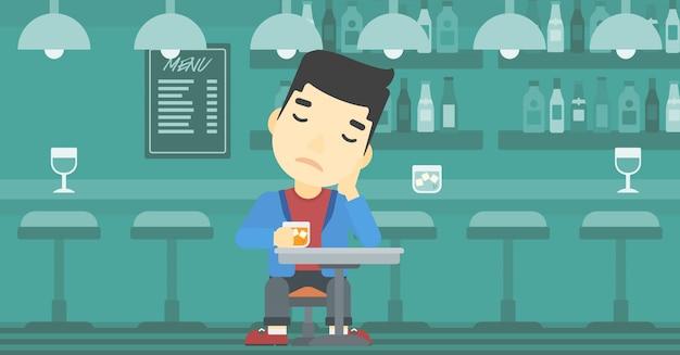 Homem que bebe na ilustração do vetor da barra.