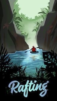 Homem que caiaque no rio da montanha. ilustração vetorial