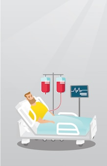 Homem que encontra-se na ilustração do vetor da cama de hospital.