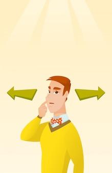 Homem que escolhe a maneira da carreira ou a solução do negócio.