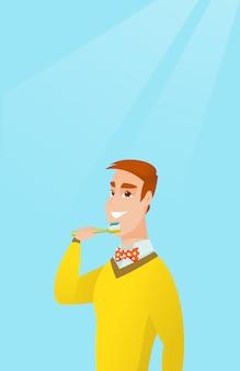 Homem que escova sua ilustração do vetor dos dentes.