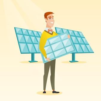 Homem que guarda a ilustração do vetor do painel solar.