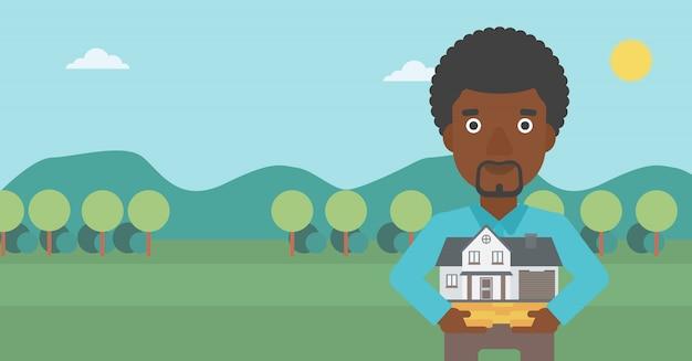 Homem que guarda a ilustração modelo do vetor da casa.