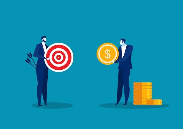 Homem que guarda a moeda com a seta que aponta no alvo. empresário tentando pegar alvo com dólar. ilustração plana