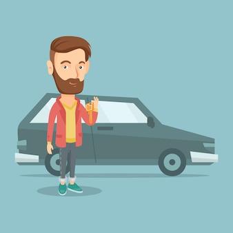 Homem que guarda chaves a seu carro novo.