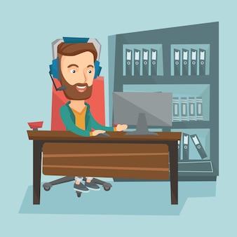 Homem que joga a ilustração do vetor do jogo de computador.