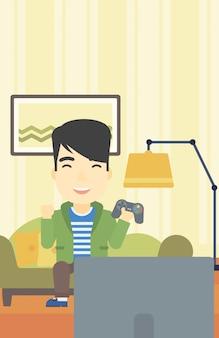 Homem que joga a ilustração do vetor do jogo video.