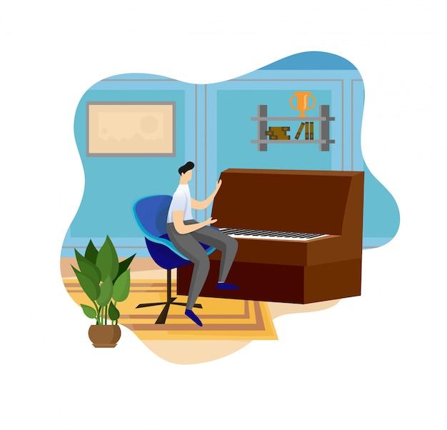 Homem que joga o piano no fundo interior interno.