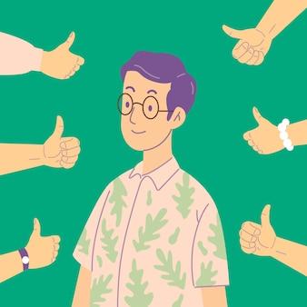 Homem que levanta os polegares do público