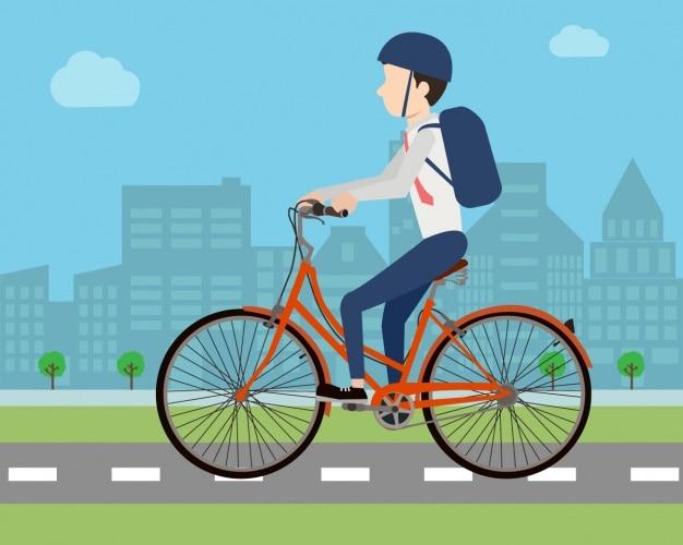 Homem que monta um design da bicicleta
