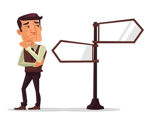Homem que pensa, escolha difícil, ilustração plana dos desenhos animados