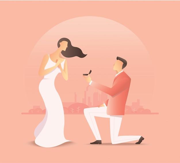 Homem que propõe à mulher, proposta de casamento