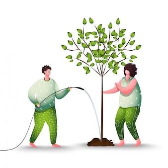 Homem que rega a árvore com mangueira com mulher para plantação.