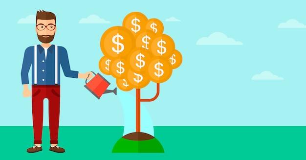 Homem que rega a árvore do dinheiro.