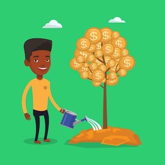 Homem que rega a árvore financeira.