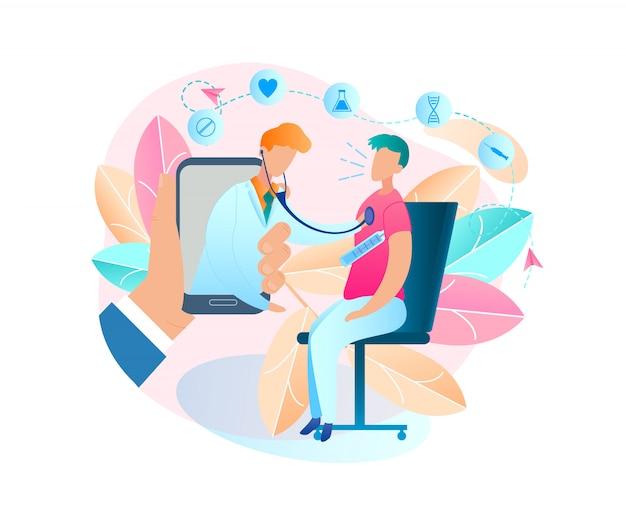 Homem que senta-se na temperatura corporal de medição da cadeira. mão masculina do vetor da ilustração que guarda o telefone celular. consulta online médico. exames de pacientes. doença vírus. dispositivo de monitor pediatra masculino