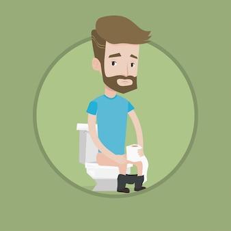 Homem que sofre de diarréia ou constipação.