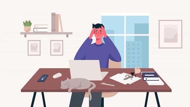 Homem que trabalha na mesa com o laptop. escritório em casa. muito trabalho, excesso de trabalho, estresse, prazo, esgotamento emocional. freelance ou conceito de estudo. trabalhador remoto. ilustração bonita em estilo cartoon plana