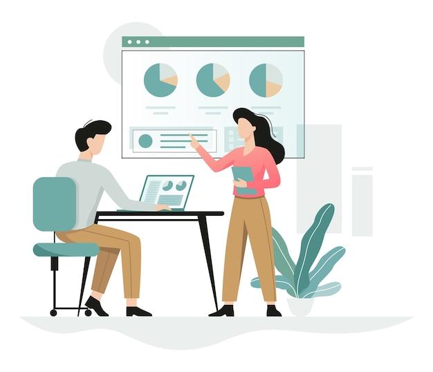 Homem que trabalha na mesa, mulher mostra gráficos, personagem de escritório no local de trabalho. trabalhador profissional. ilustração em estilo cartoon