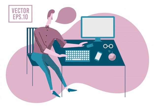 Homem que trabalha no computador. ilustração vetorial tema de trabalho de escritório.
