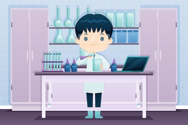 Homem que trabalha no laboratório de ciências