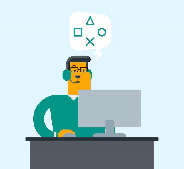 Homem que usa auriculares e computador no centro de atendimento.