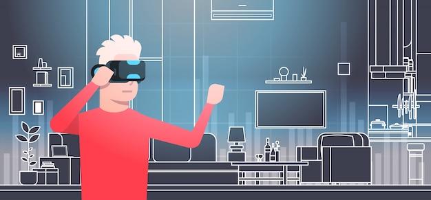 Homem que veste os vidros 3d no conceito interior da tecnologia da realidade virtual da sala do vr