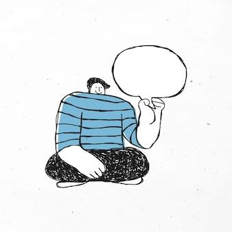 Homem rabisco com balão de fala